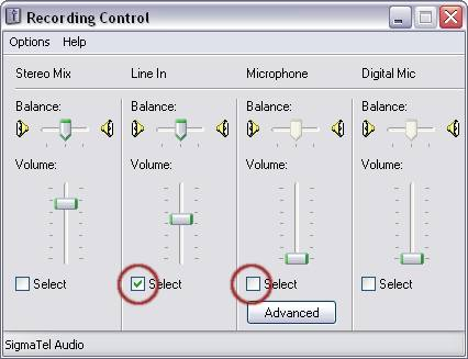 Windows XP - Recording Mixer