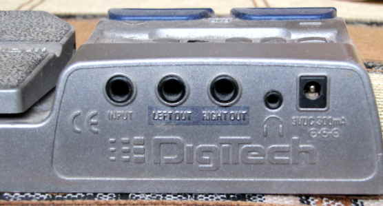 A rear view of the Digitech RP80 guitar multi effects processor