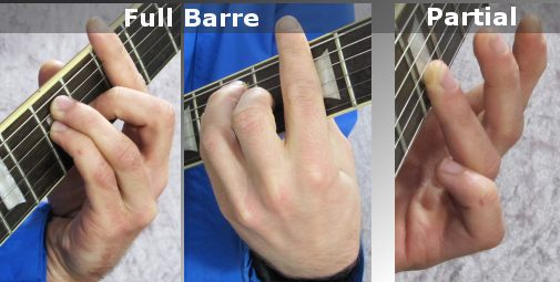 Playing different kinds of bar chords (fretting hand)